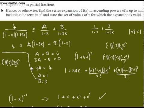 (b) Binomial Expansion Core 4 Exam Question 2 (partial fractions)