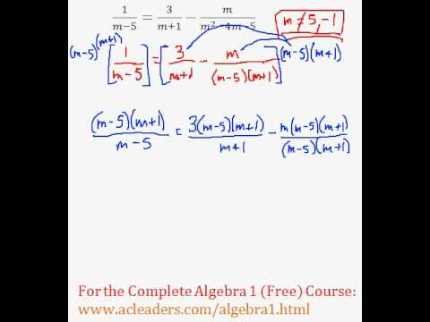 (Algebra 1) Rational Expressions - Solving an Equation #7