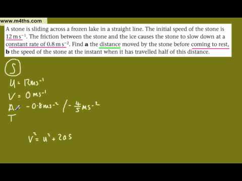 (9) M1 Kinematics - SUVAT equations - M1 Mechanics (basic example of splitting)