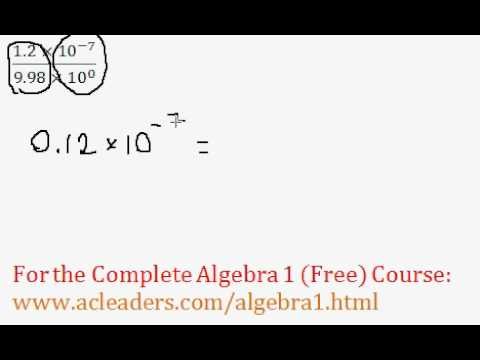 (Algebra 1) Scientific Notation Operations - Question #7