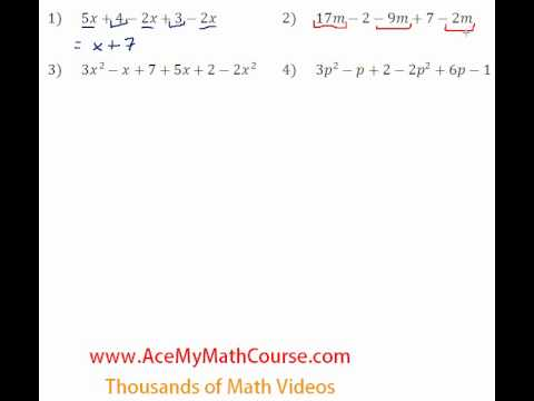 Basic Algebra Review - Combining Like Terms #1-4