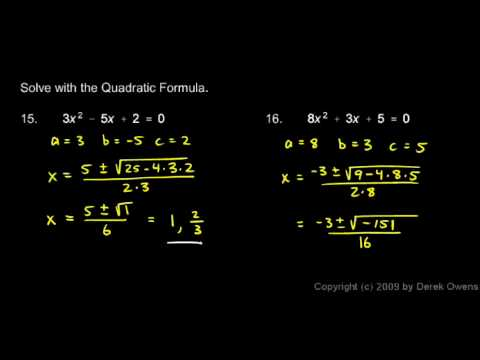 Algebra Review 10.10 - Quadratic Equations