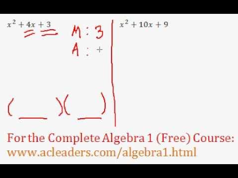 (Algebra 1) Polynomials - Factoring Trinomials Questions #1-2