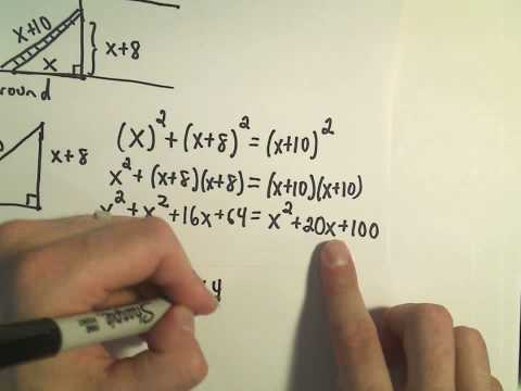 Solving for 'X' ;  Quadratic Equations Involving the Pythagorean Theorem - Example 3