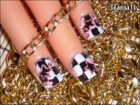 *Checkered With Pink Stars* - Nail Art Design For Short Nails
