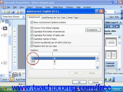 PowerPoint 2003 Tutorial Setting AutoCorrect Options Microsoft Training Lesson 30.2
