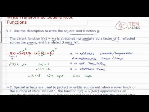 Write Transformed Square-Root Functions