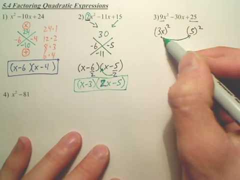 5.4a Factoring Quadratic Expressions - Algebra 2