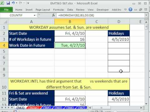 Excel Magic Trick 563: WORKDAY.INTL & WORKDAY Excel 2010 Functions