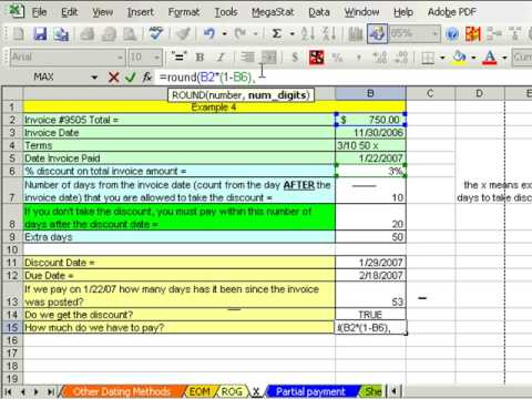 Excel Busn Math 46: Cash Discounts