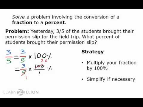 Convert fractions into percents - 5.NF.4