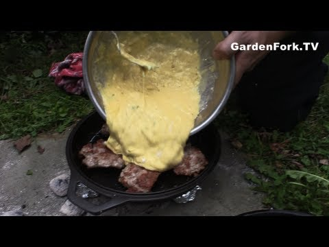 Egg Recipe Toad in the Hole Cast Iron Dutch Oven Recipe GardenFork.TV