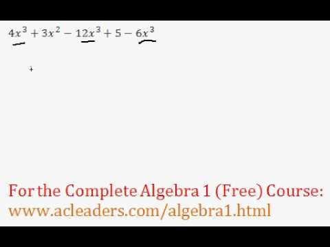 (Algebra 1) Polynomials - Combining Like Terms Question #1