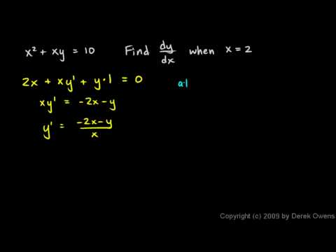 Calculus 3.10c - Implicit Differentiation Examples