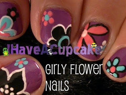 Girly Flower Nail Art