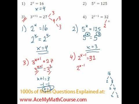 Exponents - Solving Exponential Equations #4