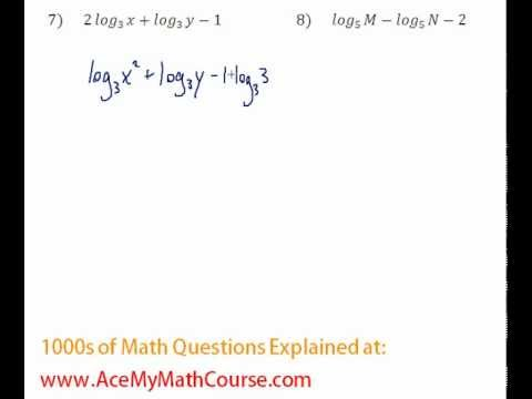 Logarithms - Compressing Log Expressions Question #7