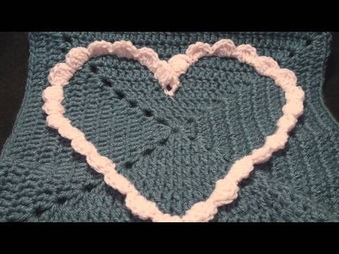 Left Hand Commemorative Large Crochet Heart Granny Square