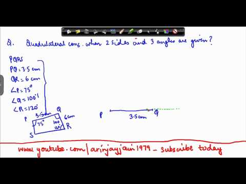 1372. Mathematics - Class VIII - quadrilateral construction with two sides and three angles