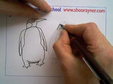 How to draw Penguins - Shoo Rayner Drawing School