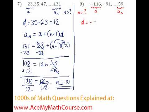 Arithmetic Sequences - Finding the Number of Terms #7-8