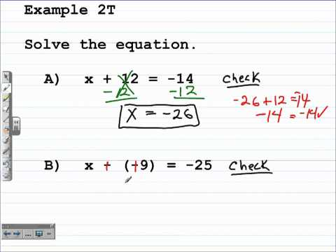 Unit 1 Lesson Topic 4 - Solving One-Step Equations