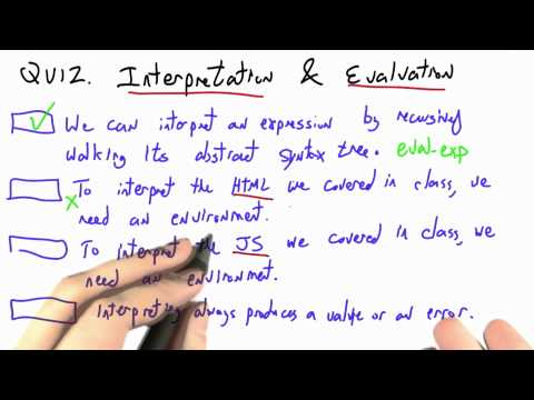 Interpretation And Evaluation Solution - CS262 Unit 7 - Udacity