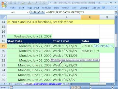 Excel Magic Trick 349: Automatic Dynamic Chart for Last Nine Weeks of Data