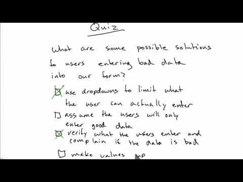 Handling Bad Data Solution - CS253 Unit 2 - Udacity
