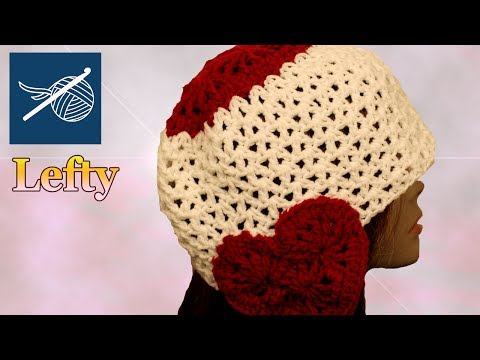 Crochet Heart Hat -  Lefty Hand - Valentine's Day 2012