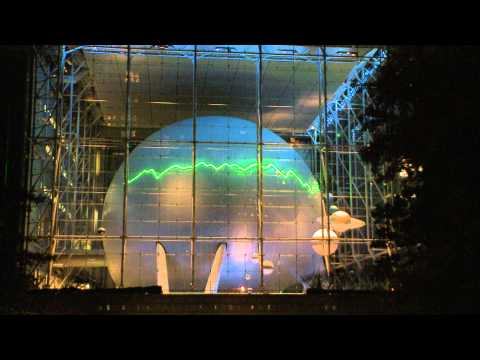 Hubble Laser Art on the Hayden Planetarium Sphere