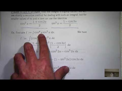 Integrals of trig functions: powers