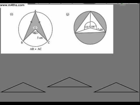 Triangle and circle GCSE problems using sine rule for area of non right angle triangle