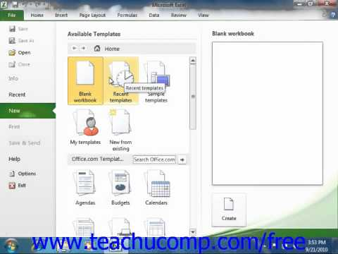 Excel 2010 Tutorial Creating New Workbooks Microsoft Training Lesson 2.1