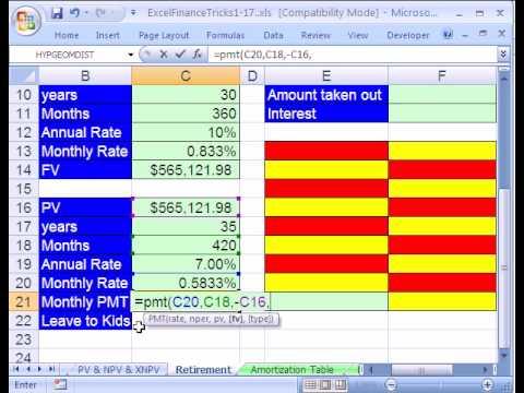 Excel Finance Trick #16: Work Life & Retirement Finance