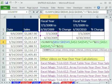 Excel Magic Trick 617: Fiscal Years Not Ending Dec 31 - Total Sales & Year Over Year Formulas