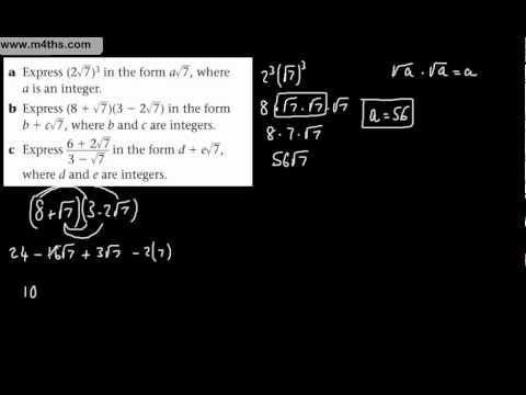 (4) Core 1 Surds (past exam questions) Rationalising Denominator