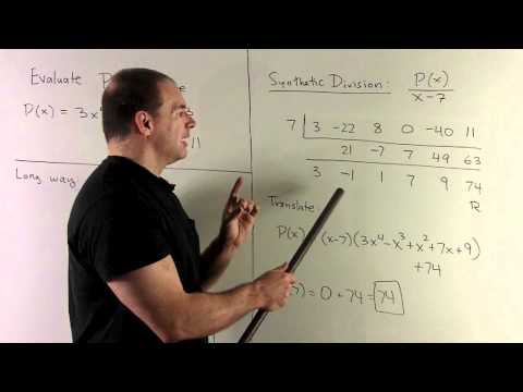 Using Synthetic Division to Evaluate a Polynomial