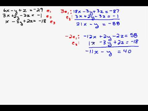 Solving A System Three Equations With Three Unknowns