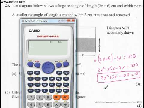 q23 Edexcel Linear Higher June 2011 calculator (quick worked example)