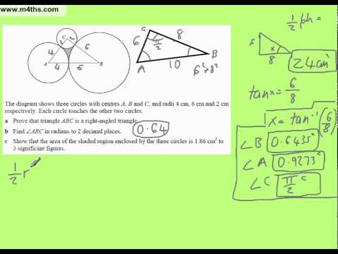 C2 exam question on circle area and triangles in raidans