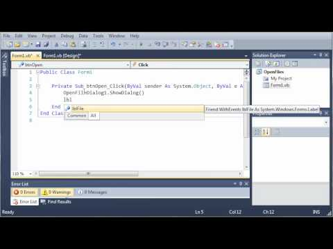 Visual Basic Tutorial - 129 - OpenFileDialog