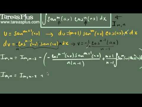 Integral del producto de seno a la m y coseno a la n (fórmula 2)