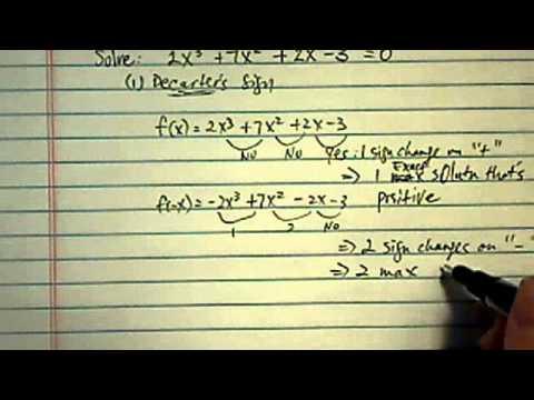 Solve Higher Order Polynomials: 2x^3+7x^2+2x-3=0