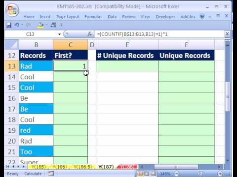 Excel Magic Trick #187: Unique List w Dynamic Formula