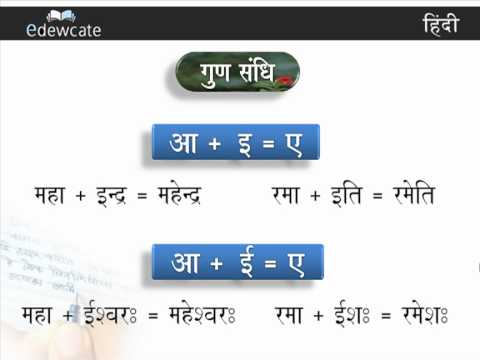 Hindi Grammar : Gun Sandhi