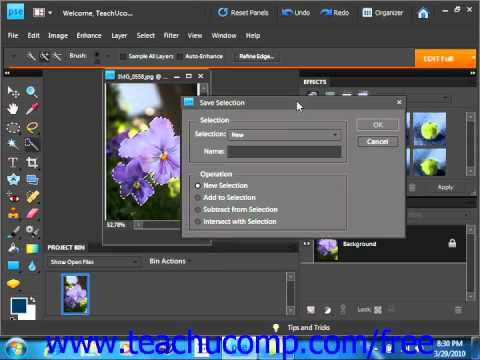 Photoshop Elements 9.0 Tutorial Saving & Loading Selections Adobe Training Lesson 8.10