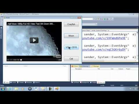Visual C++ 2010 Help Video #2 Embedding YouTube Videos - Playing - Shockwave Flash Object