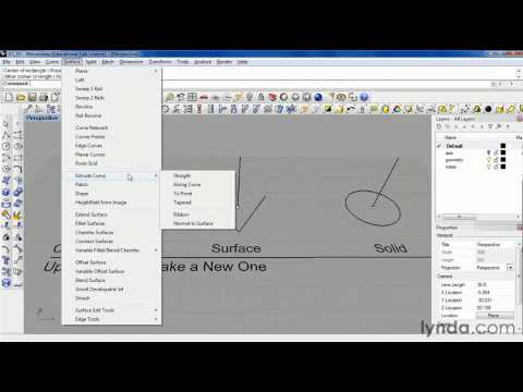 Exploring the Rhino 4.0 geometry menus | lynda.com tutorial