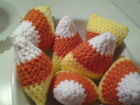 How to make a Crochet Candy Corn craft for halloween